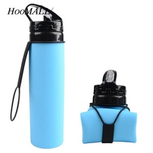 Hoomall Design New 600ML My Portable Silicone Collapsible Foldable Sports Drink Water Bottle for Cycling Camping Outdoors(China)