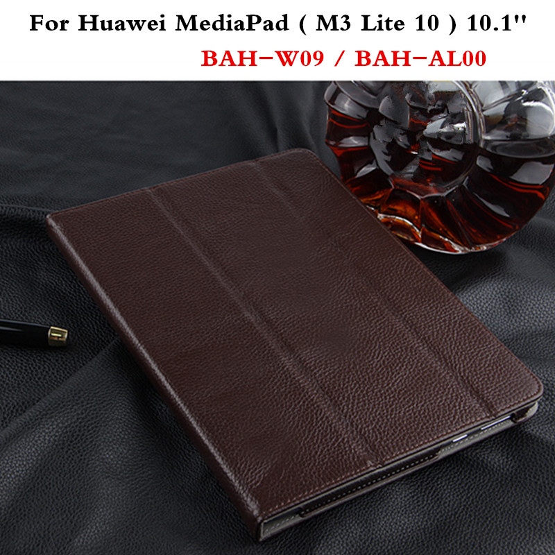 Luxury Cover Slim Protective Book Genuine Leather Business Case For Huawei MediaPad  M3 Lite 10 BAH-W09 BAH-AL00 10.1 Tablet <br>