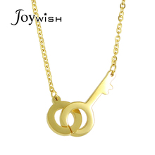 Punk Jewelry Gold-Color Stainless Steel Lock Key Necklaces & Pendants for Women and Men Minimalist Accessories Collier Femme