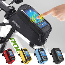 "Roswheel Touchscreen Cycling Front Frame Bag 4.2"" 4.8"" 5.5"" Waterproof PVC Bike Bicycle Bag Pouch with Audio Extension Line"