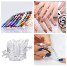 6Pcs Nail Art Tools Stickers Roller Box Holder Easy Use Clear Design Striping Tape Line Case Tool For DIY Manicure Beauty