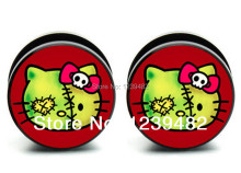 Hot sale!60pcs Acrylic Zombie Hello Kitty ear plug gauges flesh tunnel ear expander stretcher body jewelry ASP0404