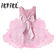 Toddler Baby Girls Pink Flower Party Wedding Pageant Communion Princess Dress Prom occasion Floral Bridal Lace flower tutu dress