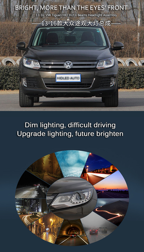 HID Bixenon High Low Beams Headlight Assembly With LED DRLs For VW Tiguan 2013-2016 Car 2