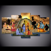 5 Pcs/Set Framed HD Printed Indian Buddha Figure Pictures Picture Wall Art Canvas Print Decor Poster Canvas Oil Painting