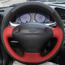 XuJi Red Black Genuine Leather Black Suede Car Steering Wheel Cover for Ford Fiesta 4 Mk4 1996-2006 Old Fiesta(China)