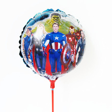 20pcs/lot The Avengers Balloon with sticks Round superman Ballons Movie Cartoon baloes birthday Party Decoration air globoSTK009
