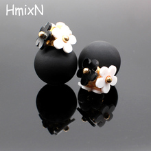 2016 New flower Earrings for Women double two side Brincos simulated pearl ball Mujer boucle Jewelry Women korea stud Earrings(China)