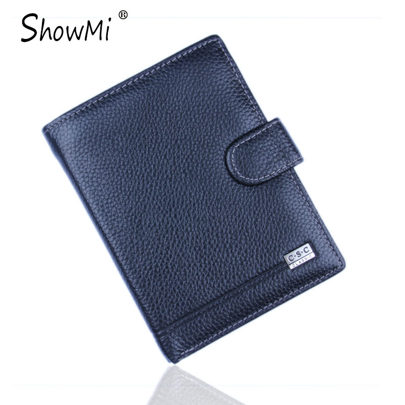ShowMi Famous Brand Real Genuine Leather Men Wallets Credit Card Holder Passport Cover Case Dollar Male Wallet Clutch Purse<br><br>Aliexpress