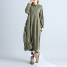 Johnature Women Turtleneck Dress Brief 2017 Autumn New Casual Long Sleeve Pullover Loose Robe Cotton Polyester Women Dresses(China)