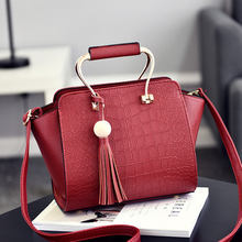 Fashion Wine Red PU Women Handbag Office Lady Tote Metal Handle Crossbody Messenger Tassel Pendant(China)