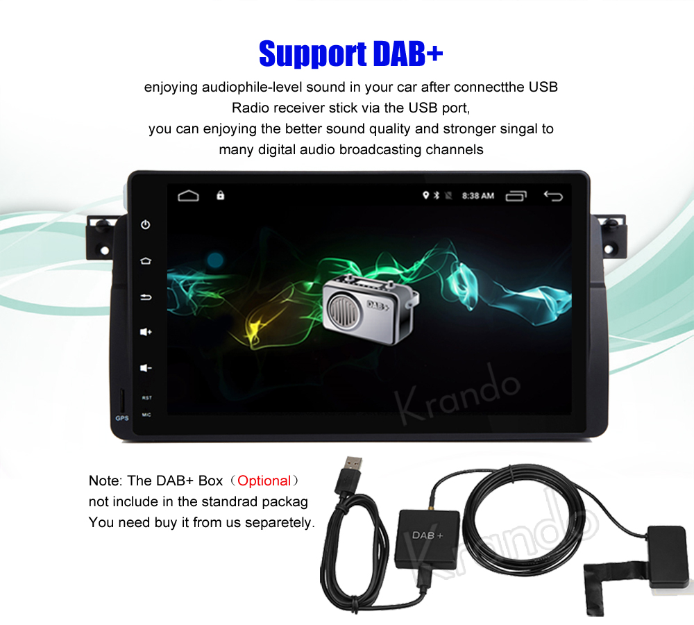 krando android car radio gps for bmw e46 m3 9 inch navigation multimedia system (7)