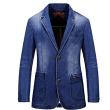 2017 New Spring Mens Brand Clothing Denim Blazers Jacket Plus Size M~3XL Blue Jean Coat Slim Fit Casual Overcoat CLOTHES Cotton