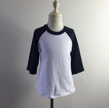 Hot sales cheap price baby round neck shirts toddler raglan cotton shirts with beautiful design