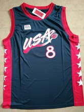 LANSHITINA Scottie Pippen #8 Dark Blue/White USA Retro Throwback Stitched Basketball Jersey Shirt(China)