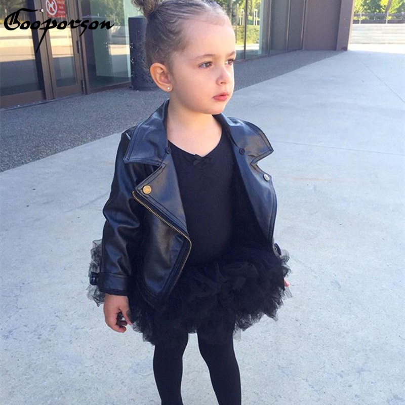 New Fashion Girls Leather Jacket Black Long Sleeve Spring Kids Girl Punk Outerwear Clothing Children Coat PU Jackets<br>