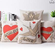 Free Shipping Couple Gifts True Love Series Cushion 45x45cm Decorative Throw Wholesaler For Home & Bed Cotton Linen(China)