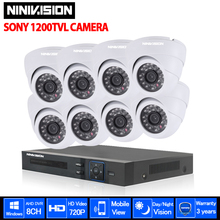 NINIVISION 8 channel HDMI 1080P AHD DVR USB 3G WIFI CCTV system SONY 1200TVL security indoor dome Camera video surveillance kit