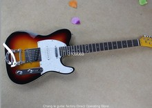 Factory direct TELE telecaster binding body Bigsby 6 Strings Guitar sunburst  Electric Guitar with three pickups