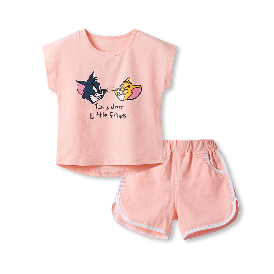 2016 new summer fashion baby cute clothes outfits girl child kids Cotton cartoon jerry tops with Shorts pant clothing suits<br><br>Aliexpress