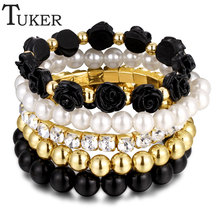 JEWELRY Factory imitation Pearl Black Beads Rose Pendant Stretch Bracelets & Bangles Six Colors For Women Fashion Jewelry