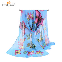 New Women Seasonal Scarves Butterfly Velvet Chiffon Bohemia Flower Fashion Summer Beach Shawl Printed Hijab Stoles Lady Scarf(China)