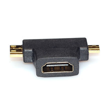 2017 Top Sale Mini 3 in 1 HDMI Female to Mini HDMI Male + Micro HDMI Male Adapter Metal/Plastic Connector Black Free Shipping