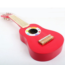 Free shipping!Janod wooden Kids Guitar Red Baby Iron Strings Wooden Guitar toy Musical Instrument Toy Educational Christmas gift