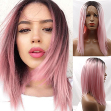 Short Bob Synthetic Lace Front Wigs Straight Ombre Pink Synthetic Hair Short Bob Lac Front Wigs 2 Tones 1B/Pink Peruca Cosplay
