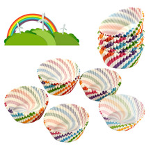 100Pcs Colourful Swirl Paper Cupcake Cake Case Liners Party Baking Utensils(China)