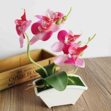 Artificial Orchid Plant Potted Double Forks Branches Butterfly Orchid Artificial Flower in Pot Wedding Room Decoration Bonsai