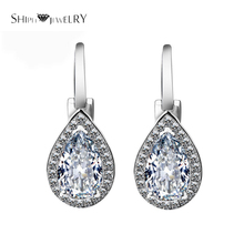 Brand Jewelry SHIPEI Hook Earrings in Plated White Gold with Top Round Brilliant Crystal,Carat Total Weight 1.88(China)