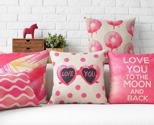 Free shipping wedding gift pink heart lips wave love you to the moon and back words pattern cushion cover home decor pillow case(China)