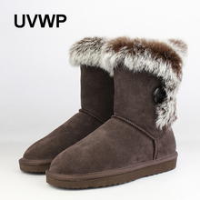 UVWP Fashion Women 100% Genuine Leather Snow Boots Natural Rabbit Fur Winter Boots Warm Women Boots Shoes Free Shipping(China)