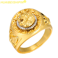 HUAIBEISHIPIN Fashion Gold and Silver Colors Classic Men's Punk Style Hip Hop Ring Band Cool Lion Head Gold Ring Jewelry S0098(China)