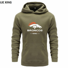 Men's Denver Broncos Fashion Hoody 2018 New Casual Men Hoodies Sweatshirts Printed Pullover Hoodie Cotton(China)