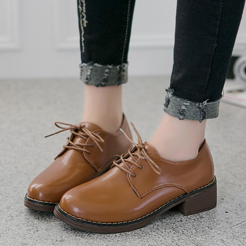 Retro Vintage British Women Oxfords Flats Lace up Thick Bottom Bullock Shoes Cow Muscle Round Toe Female Sewing Zapatos Mujer<br><br>Aliexpress