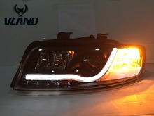 Free shipping Vland factory for Audi A4 Headlights 2001 2004 LED Headlight DRL Lens Double Beam H7 HID Xenon bi xenon lens