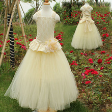 Quality children designer kids wear clothing wedding party dresses light yellow flower girls dresses for party and wedding 2017