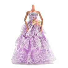 1PCS Doll Dress Clothes Clothing Elegant Lace Multi Layers Wedding Dress For Barbie Doll Luxury Floral Dolls Accessories(China)