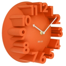 LHBL Home Decor Creative Modern Art 3D Number Dome Round Wall Clocks, Orange 22.5 * 22.5 * 9cm(China)