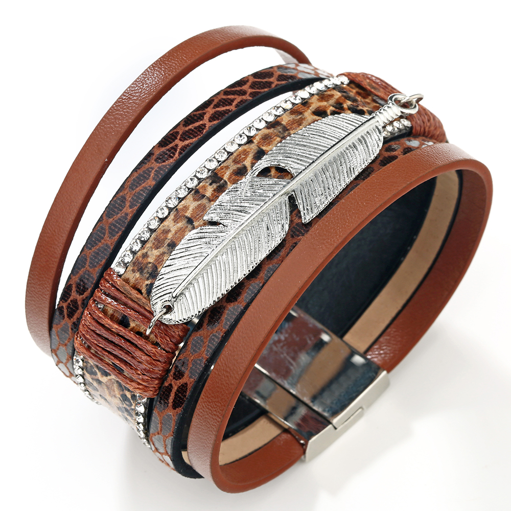 19 Fashion Alloy Feather Leaf Wide Magnetic Leather Bracelets & Bangles Multilayer Wrap Bracelets for Women Men Jewelry 15