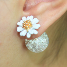 2016 new design fashion brand jewelry elegant Daisy Flower seffect earring double imitation pearl Statement earring for women