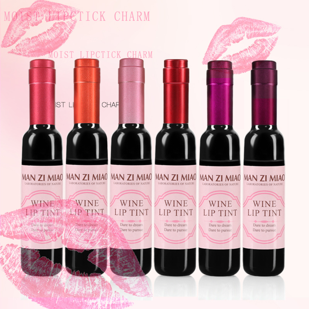 1PC Sexy Waterproof Wine Red Shape Lip Tint Gloss Baby Pink Lip For Women Batom Makeup Liquid Lipstick Lipgloss Cosmetic Tools(China)