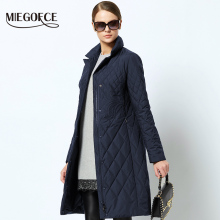 Spring Women's Parka Coat Warm Jacket Women's Thin Cotton Quilted Coat With Standing Collar New Collection Of Designer MIEGOFCE(China)