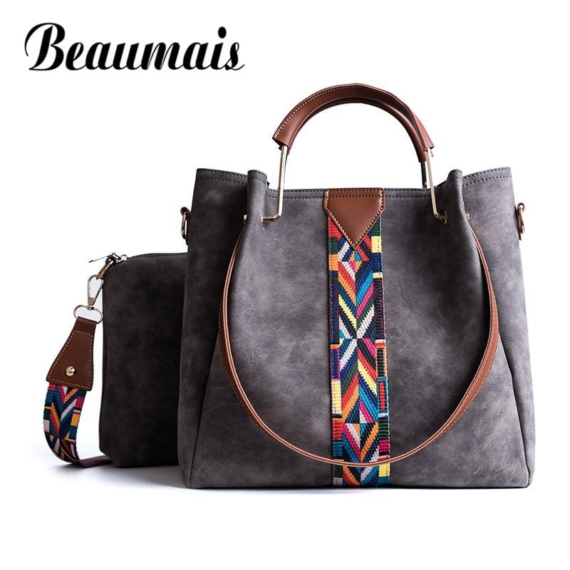 Beaumais 2017 Fashion Shoulder Bags For Girls Women Leather Handbags Soft Women Crossbody Bags Female 2sets Women Bag DF0035<br>