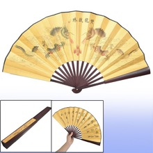 1 X Dragon Poem Oriental Painting Rosewood Bamboo Ribs Folding Hand Fan Dancer Fans Favor For Outdoor Wedding Party Decorantion