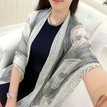 Sping autumn and winter lady thin scarf Imitation silk skull printed scarves summer fresh fashion lady beach towel