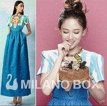 Free Shipping 2013 Summer New Star Fashion Sweet and Playful Cartoon Doll Printed Sky Blue Striped Maxi Long Dress RD130224(China)