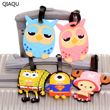 QIAQU New Fashion Lovely Cartoon Characters 8 Color Optional Silicone Luggage Tag Travel to find luggage accessories Organizer